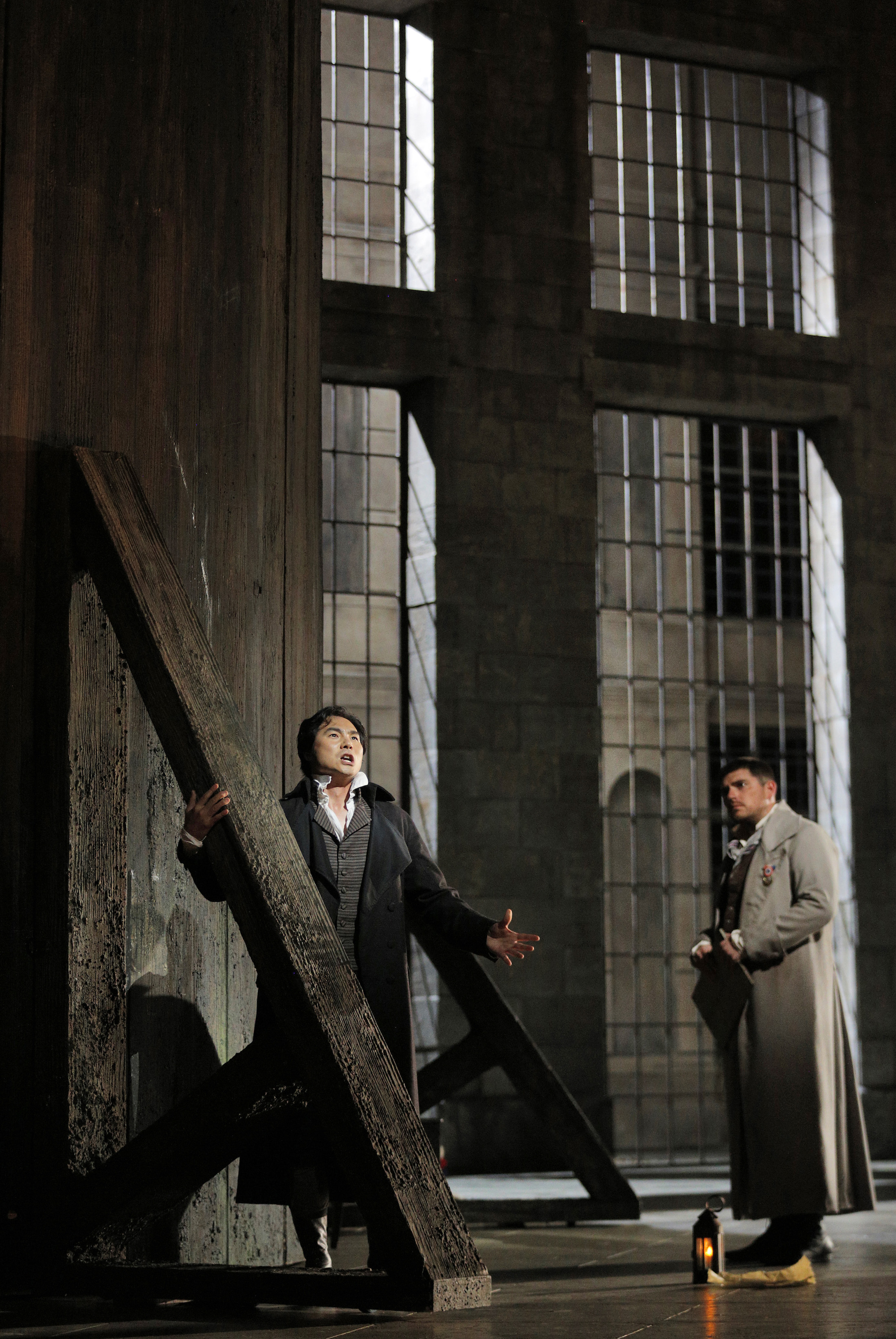 Yonghoon Lee as Chenier and David Pershall as Roucher - San Francisco Opera - Photo by Cory Weaver